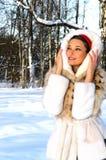 Woman in fur coat royalty free stock image