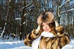 Woman in fur coat Royalty Free Stock Images
