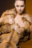 Woman in a fur coat Royalty Free Stock Photography