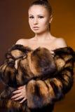Woman in a fur coat Stock Photos
