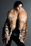 Woman in fur coat Stock Photos