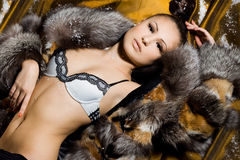 Woman in a fur coat Royalty Free Stock Images