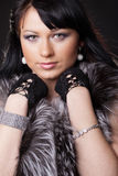 Woman in fur coat Royalty Free Stock Images