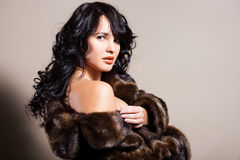 Woman in fur coat Stock Photo