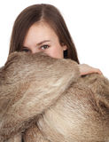 Woman in a fur coat \az Royalty Free Stock Photography