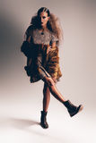Woman in fur coat and dress Royalty Free Stock Photography