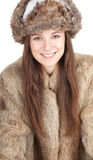 Woman in a fur coat and hat Royalty Free Stock Photo