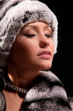 Woman in a fur coat and hat Stock Photography