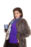 Woman fur coat hold mug smile Royalty Free Stock Images