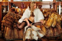 Woman in fur coat in a luxurious interior. Stock Photo
