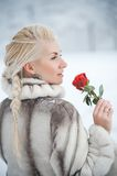 Woman in fur coat outdoors Stock Images
