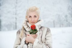 Woman in fur coat outdoors Royalty Free Stock Image