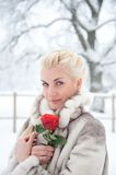 Woman in fur coat outdoors Royalty Free Stock Photography