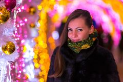 Christmas and New Year in Moscow, Russia. royalty free stock photo