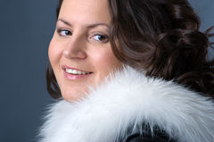 Woman with fur collar Royalty Free Stock Image