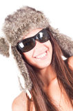 Woman in fur hat Royalty Free Stock Photo