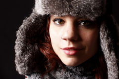 Woman with fur hat Royalty Free Stock Images