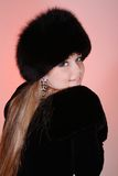 Woman in fur hat. Beautiful woman in fur hat Royalty Free Stock Photos