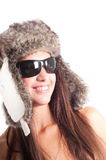 Woman in fur hat Stock Image