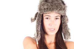Woman in fur hat Royalty Free Stock Images
