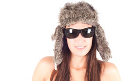 Woman in fur hat Stock Images