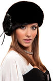 Woman in a fur hat Royalty Free Stock Photo