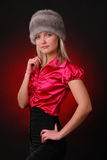 Woman in fur hat Royalty Free Stock Photography