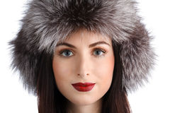 Woman in a fur hat Stock Image