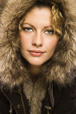 Woman with fur hood. Stock Photography