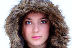 Woman in a fur hood Royalty Free Stock Photo