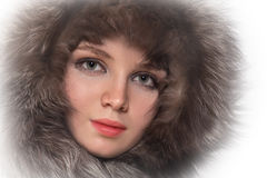 Woman in fur hood Royalty Free Stock Photography