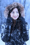 Woman with fur jacket under snowfall Stock Photography