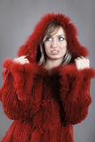 Woman in Fur lined winter coat Royalty Free Stock Photography