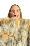 Woman and fur opponents Stock Photo