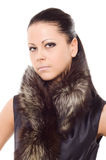 Woman fur portrait closeup Stock Photography
