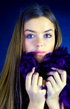 Woman with fur scarf Royalty Free Stock Images