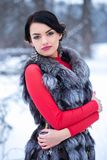 Woman In the fur vest. Woman in a fur vest in winter Stock Images