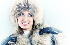 Woman in fur winter coat Stock Photography