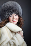 Woman in fur winter coat. A beautiful fashion model a winter coat Royalty Free Stock Images