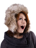 Woman in fur winter hat Stock Photo