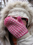 Woman in fur wintry hat stock photo