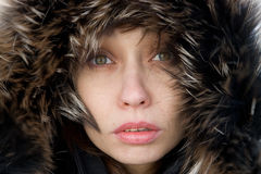 Woman in a furry hood. Young woman in a furry hood looking at you Royalty Free Stock Photography