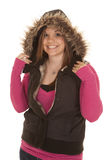 Woman furry hood and pink smile Royalty Free Stock Photos
