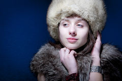 Woman in Furs Stock Images