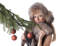 Woman in furs Stock Photo