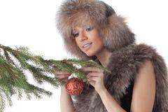 Woman in furs Stock Photo