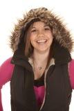 Woman fury hood and pink big smile Stock Photography