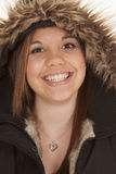 Woman fury hood smile Royalty Free Stock Images