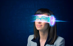 Woman from future with high tech smartphone glasses Stock Images