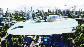 Woman in futuristic car flying over the city, town. Concept of the future. Aerial view. Super realistic 4k animation. stock video footage